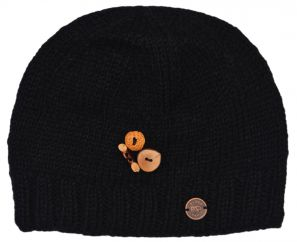 Pure wool half fleece lined fruit button beanie Black