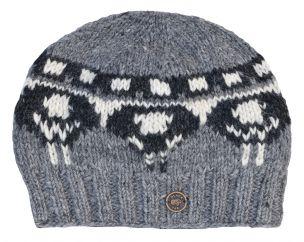 Hand knit pure wool half fleece lined sheep hat Greys