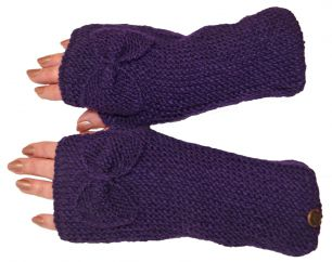 Pure wool single bow wristwarmers purple