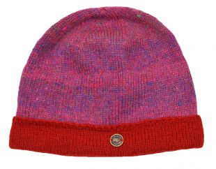 NAYA pure wool heather turn-up beanie pink