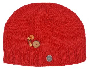Pure wool half fleece lined fruit button beanie Red